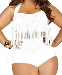 Creabygirls Plus Size High Waist Swimsuit