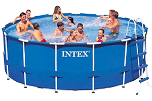 Intex 15x48 Metal Frame Above Ground Pool with Pool Cover